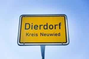 Ortseingangsschild von Dierdorf im Kreis Neuwied